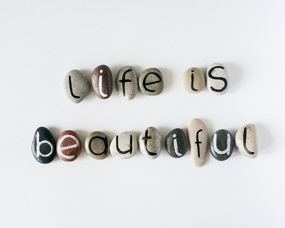 Life is Beautiful, 15 Magnets Letters, Custom Quote, Beach Pebbles, Inspirational Word or Quote, Sea Stones, Personalized, Rocks