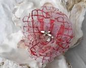 The Sweetheart Rose-Hair Fascinator-Bridal Hair Piece-Beautiful Vintage Rhinestone Center-Perfect  Head Piece