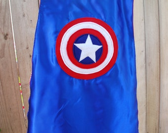 Boys Reversible Personalized Super Hero Cape: Captain America