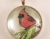 Red Cardnial Bird Necklace, Woodland Jewelry Art Pendant, Original Watercolor