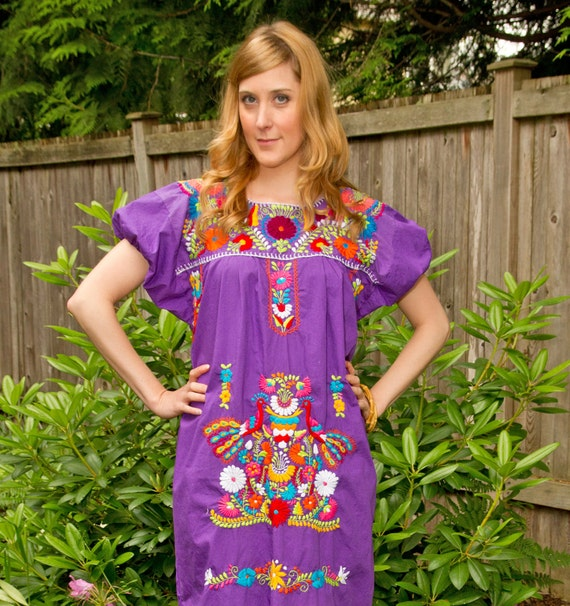 Mexican Dress Floral Embroidery Purple LARGE