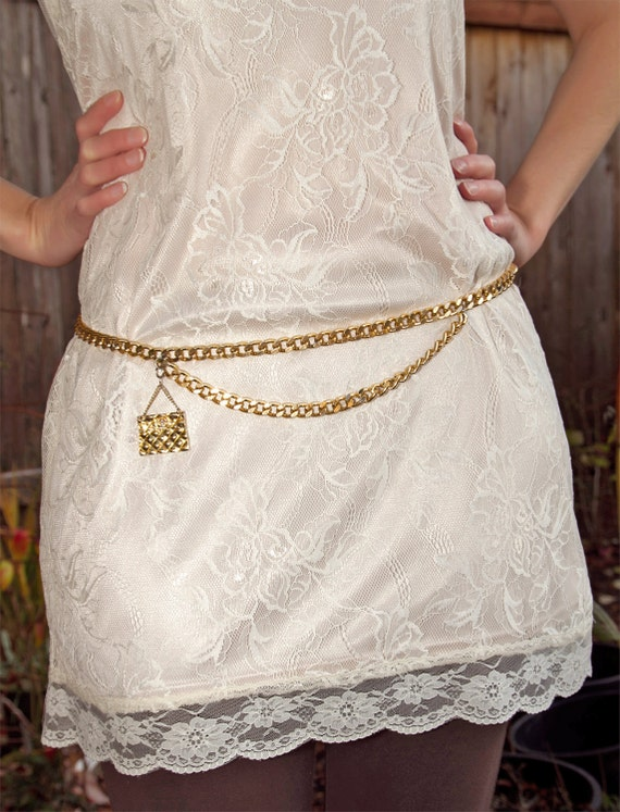 Vintage Gold Chain Belt with Quilted Purse Charm