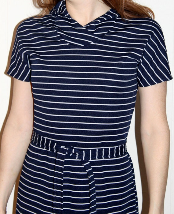 Navy Hooded Dress with White Stripes