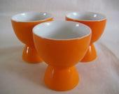 Egg cups set of three midcentury orange ceramic made in Japan - TREASURY LISTED