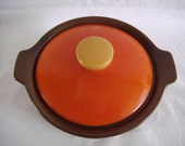 Casserole made in Australia midcentury modern brown orange yellow 1960s - TREASURY LISTED