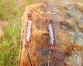 Brown Leather Wrapped Earrings with Swarovski Crystals.  Dangle Earrings.  Valentines Day Gift.