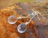 Swarovski Crystal Plumb Teardrop Sterling Silver Chain Dangle Earrings
