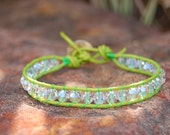 Lime Green Bracelet.  Fern Lime Green Wrapped Leather Bracelet with Swarovski Crystals.  Free Gift Wrap.  Lime Green.