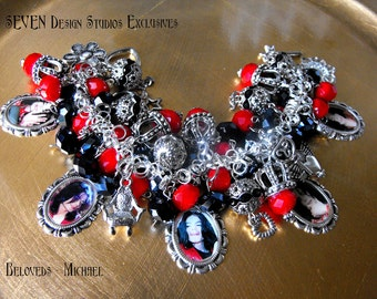 Beloved Series - MICHAEL - Red Velvet Crystals, Black Crystals, Charms