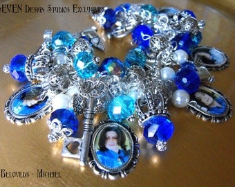 Beloved Series - Michael in Blue/Teal Crystals, Glass Pearls and Charms