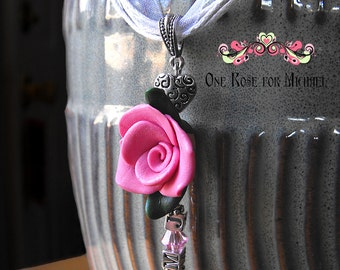 One Rose for Michael - Ribbon Cord Necklace