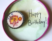Square Fish and Bubbles magnet with a special custom message -Perfect for Birthdays, Congratulations, and much more