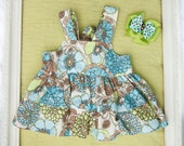 12-18 Month Spring Summer Blue Green and Tan Floral Double Ruffle Knot Top with Matching Bow