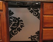 Appliance Vinyl Decal, Large Damask Design, Dishwasher Sticker, Laundry Room Decor, Kitchen Decor, Damask Vinyl Decal