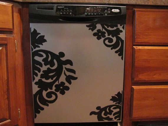 Appliance Vinyl Decal-Large Damask, Dishwasher Sticker