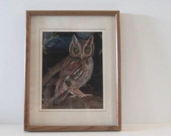 Vintage OWL in CHALK on VELVET Picture/Painting