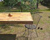 Reclaimed Barnwood Dining table, desk. Modern vintage hairpin steel legs.  Pattern patch work style pallet table. Rustic industrial
