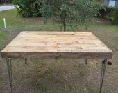 Reclaimed Barnwood Dining table, kitchen, coffee, desk. Modern vintage hairpin legs.  Pattern patch work style table.