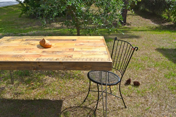 Reclaimed Barnwood Dining table, desk. Modern vintage hairpin steel legs.  Pattern patch work style pallet table. Rustic industrial