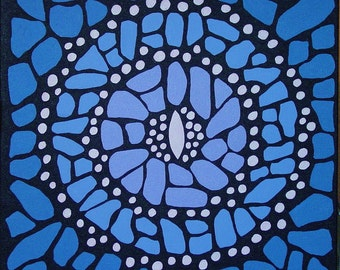 Blue Butterfly Mandala-  Original Acrylic on canvas