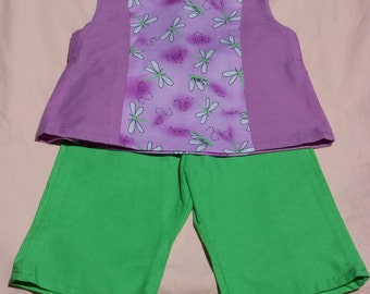 Dragonfly lavender green pants outfit, Size 12 Months