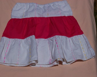 Ribbon Striped 3 Tiered Skirt with Bright Hot Pink Middle Tier, Size 6