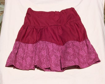 3 Tiered Maroon Skirt with a Maroon Floral Print on the Bottom, Size 6