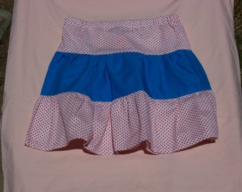Girls 3 tiered Hearts and Royal Blue Skirt, Size 6