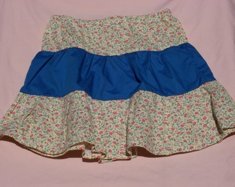 3 Tiered Pale Yellow Rose Floral Print and Blue Girl's Skirt, Size 5