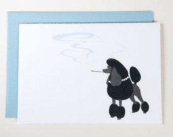 French Poodle Smoking a Cigarette - BLANK CARD