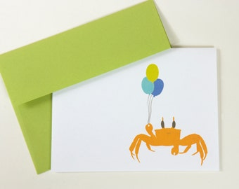 Birthday Card Perfect for Cancer- Party Crab Holding Balloons