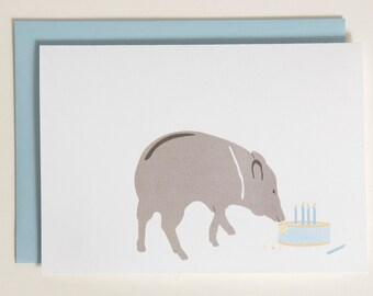 Birthday Card - Wild Pig / Javelina Eating Birthday Cake