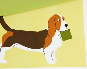Basset Hound carrying a book - Blank Card