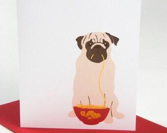 Pug eating Noodles - Blank Card