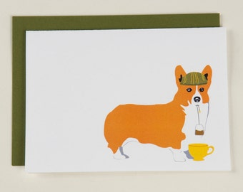 English Corgi Drinking Tea - Blank Card
