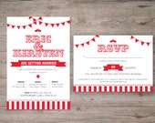 Carnival Wedding Invite Set. RSVP and wedding invitation DIY Print