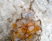 Amber/ purple gray wire-wrapped citrine rock stone mineral geode necklace on 24 inch copper chain
