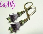 Glass Flower lucite Flower Antique Brass Earrings