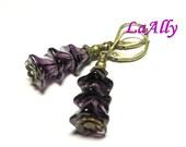 Antique Brass Purple Glass Flower Earrings