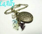 Antique Brass Locket Necklace, Glass Flower, Swarovski Pearl
