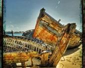 Wooden boat wrecks finally resting in golden sand -  Fine Art Quality Print