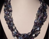 5 Strand Adjustable Necklace, LIGHTWEIGHT CROCHETED -gives illusion of beads and gemstones Blue Amethyst