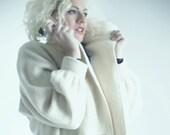 Vintage wool coat / Vintage white coat / Vintage oversized coat /M - XL/