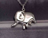 Painting elephant sterling silver pendant necklace