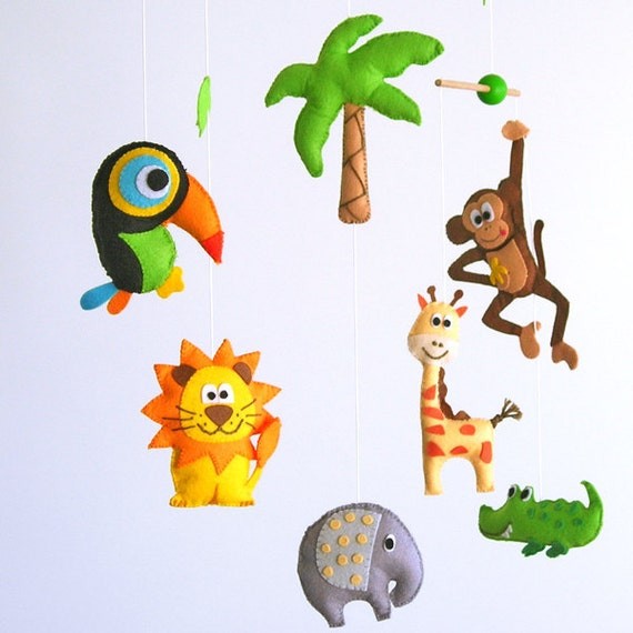 Lovely and Poetic Jungle Safari, Baby Crib Deco Mobile. Choose your colors for an unique baby nursery mobile