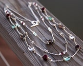 Handmade Multi Strand Gemstone Necklace with Fluorite, Agate, Smoky Quartz and Clear Quartz