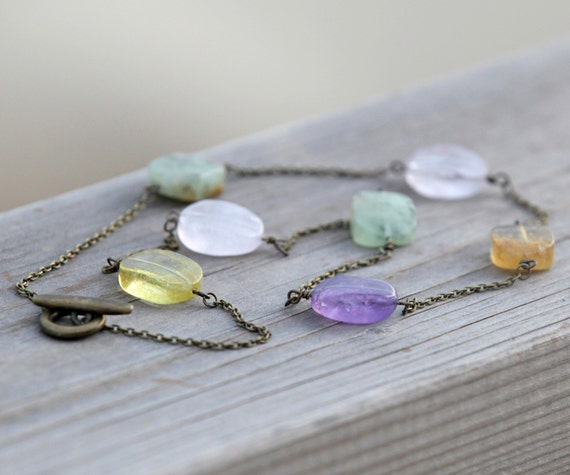 Handmade Long Necklace with Multi Color Quartz  Stones
