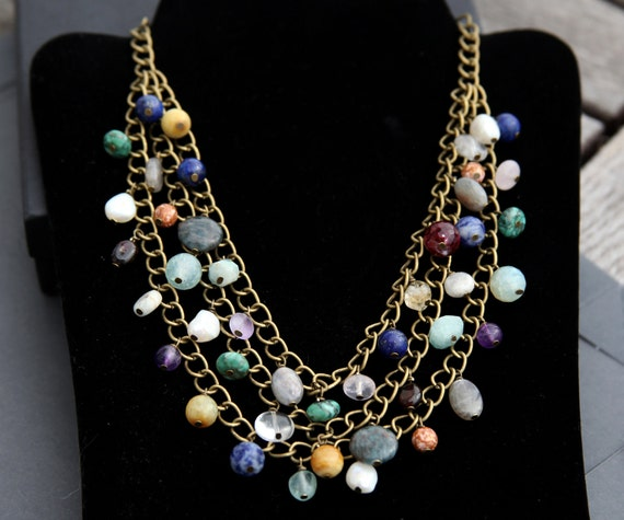 Handmade Chunky Bohemian Multi Strand Gemstone Necklace