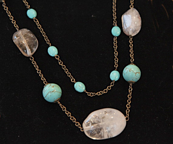 Handmade Long  two string Necklace with Turquoise and Clear Quartz stones