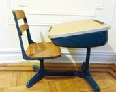 Retro Blue School Desk and Chair